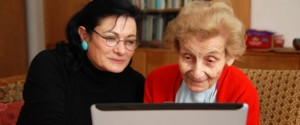 Elderly relative and daughter review care home on-line