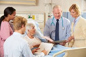 elderly person in hospital discussing care needs