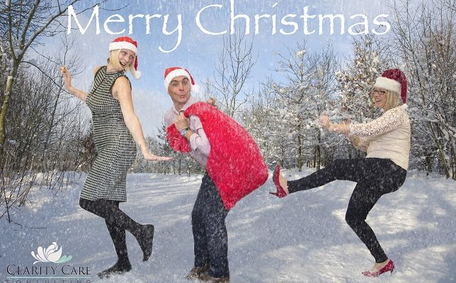 Clarity Care Consulting Christmas Card featuring Lynn Osborne, Dave James and Emma Lindsay