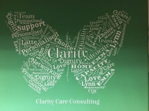 Clarity Care COnsulting Word CLoud in thr shape of a butterfly. Words include Care, dignity, advocate, carers, professional
