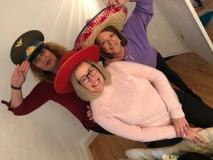 Lynn Osborne - Soraiya Humby - Kate Slade of Clarity Care Consulting Wearing Hats for Brain Tumour Research